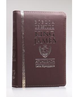 Bíblia de Estudo | King James Atualizada | Letra Hipergigante | Capa PU | Marrom | Zíper