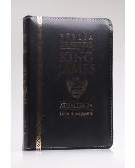 Bíblia de Estudo | King James Atualizada | Letra Hipergigante | Capa PU | Preta | Zíper
