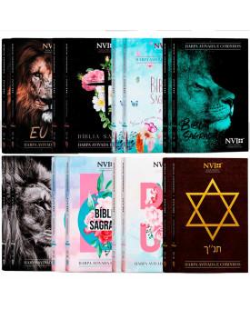Kit 16 Bíblias   NVI   Harpa e Corinhos   Letra Hipergigante