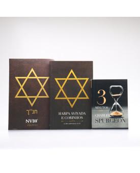 Kit Bíblia NVI Letra Hipergigante Estrela de Davi + Guia Bíblico + Harpa Avivada e Corinhos | Fundamento da Fé
