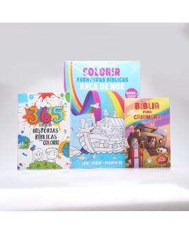 Kit Bíblia Para Crianças + 365 Histórias Bíblicas + Tapete Para Colorir Arca de Noé   A Criação do Mundo