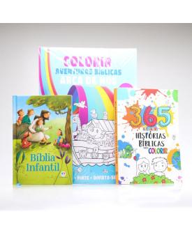 Kit Bíblia Infantil + 365 Histórias Bíblicas + Tapete Para Colorir Arca de Noé   A Criação do Mundo