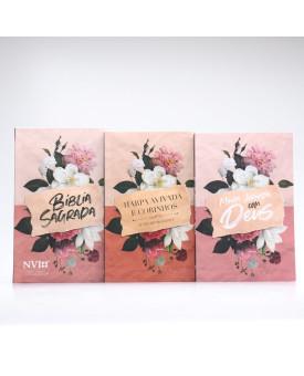 Kit Bíblia NVI Letra Hipergigante Papel + Livro de Oração + Harpa Avivada e Corinhos | Fundamento da Fé