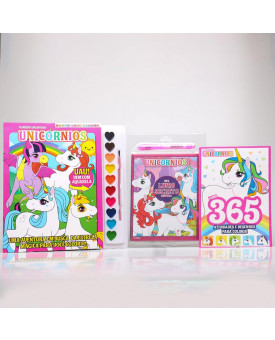 Kit 365 Atividades e Desenhos Para Colorir + Livro Para Pintar com Aquarela + Meu Livro Secreto | Unicórnios