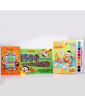 Kit Livro Para Pintar com Aquarela + Prancheta Para Colorir + 400 Atividades | Turma da Mônica