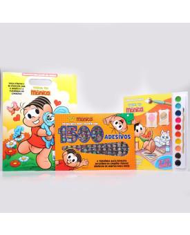 Kit 2 Pranchetas Para Colorir com Adesivos + Livro Para Pintar com Aquarela | Turma da Mônica
