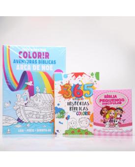 Kit Bíblia Pequenos Discípulos RC Harpa Rosa + Tapete Para Colorir + 365 Histórias Bíblicas