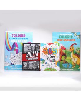 Kit Bíblia em Quadrinhos + 2 Tapete Gigantes + 365 Histórias Bíblicas Para Colorir   Aprendendo Sobre a Bíblia
