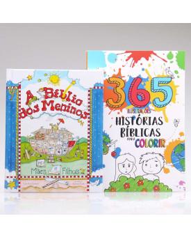 Kit A Bíblia Dos Meninos + 365 Histórias Bíblicas para Colorir | Aprendendo Sobre a Bíblia