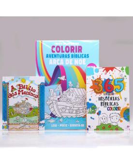 Kit A Bíblia Dos Meninos + Tapete Para Colorir + 365 Histórias Bíblicas para Colorir | Aprendendo sobre a Bíblia