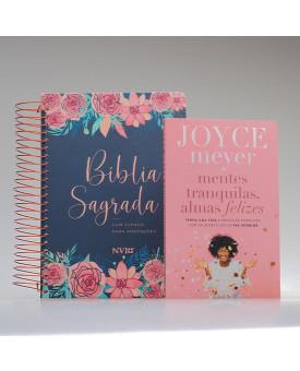 Kit Tranquilize Sua Alma | Rosas | Bíblia Anote + Livro