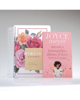 Kit Tranquilize Sua Alma | Floral | Bíblia Anote + Mentes Tranquilas