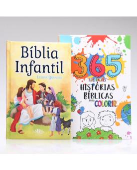 Kit Bíblia Infantil Letra Grande + 365 Histórias Bíblicas para Colorir   Aprendendo Sobre a Bíblia
