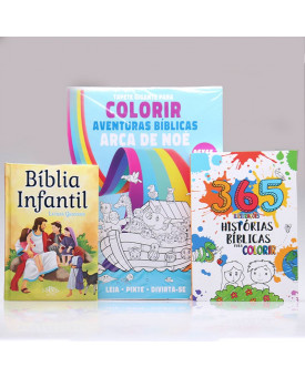 Kit Bíblia Infantil Letra Grande + Tapete Para Colorir + 365 Histórias Para Colorir   Aprendendo Sobre a Bíblia