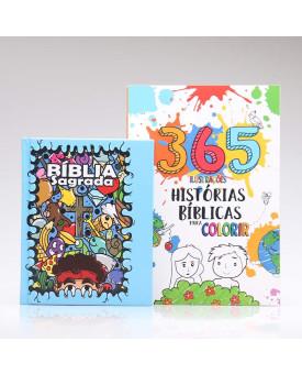 Kit Bíblia Sagrada Infantil Cartoons + 365 Histórias Bíblicas para Colorir   Aprendendo Sobre a Bíblia