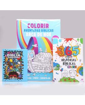 Kit A Bíblia Dos Meninos+ Tapete Gigante Para Colorir + 365 Histórias Bíblicas para Colorir