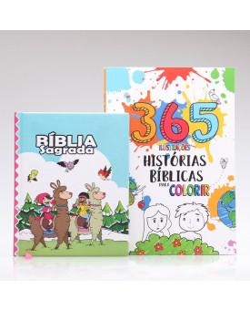 Kit Bíblia Sagrada Infantil Lhama + 365 Histórias Bíblicas para Colorir | Aprendendo sobre a Bíblia