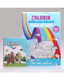 Kit Bíblia Sagrada Infantil Lhama + Tapete Gigante Para Colorir   Aprendendo sobre a Bíblia
