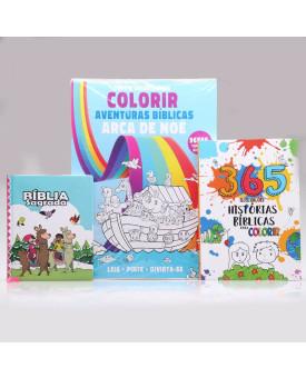 Kit Bíblia Sagrada Infantil Lhama + Tapete Para Colorir + 365 Histórias para Colorir | Aprendendo sobre a Bíblia