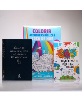 Kit Bíblia De Recursos Para O Ministério Com Crianças Azul + 2 Livros Grátis
