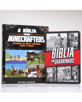 Kit Bíblia em Quadrinhos Vermelha + Bíblia Para Minecrafters
