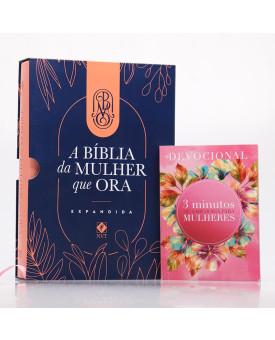 Kit Bíblia da Mulher que Ora NVT Salmão + Grátis Devocional 3 Minutos com Sabedoria Para Mulheres