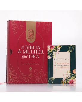 Kit Bíblia da Mulher que Ora NVT Vinho + Grátis Devocional 3 Minutos com Sabedoria Para Mulheres
