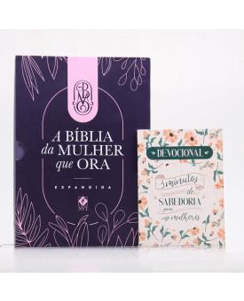 Kit Bíblia da Mulher que Ora NVT Roxa + Grátis Devocional 3 Minutos com Sabedoria Para Mulheres