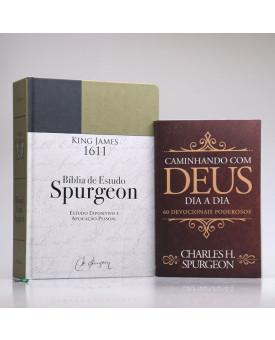 Kit Bíblia de Estudo Spurgeon King James 1611 Verde e Preta + Grátis Devocional Spurgeon