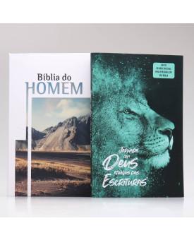 Kit Bíblia do Homem + Jornada com Deus Através das Escrituras | Leão Azul