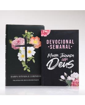 Kit Bíblia RC Harpa Letra Gigante Flores Cruz + Devocional Semanal Minha Jornada com Deus | Cânticos ao Senhor
