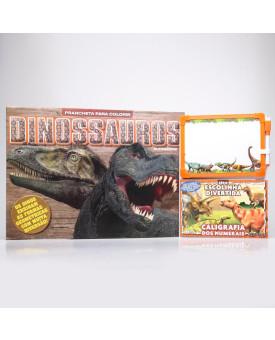 Kit Prancheta Para Colorir + Série Escolinha Divertida   Dinossauros