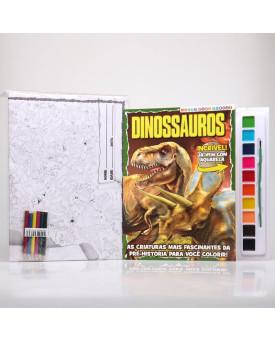 Kit Pôster Gigante + Livro Para Pintar com Aquarela   Dinossauros