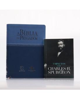 Kit A Bíblia do Pregador RC Azul + Grátis Devocional 3 Minutos com Charles H. Spurgeon   Pregadores de Fé