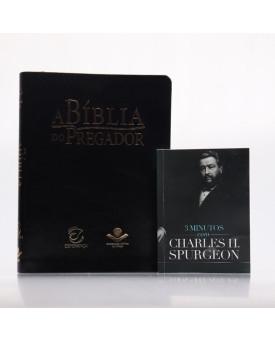Kit A Bíblia do Pregador RC Preta + Grátis Devocional 3 Minutos com Charles H. Spurgeon   Pregadores de Fé