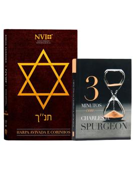 Kit Bíblia NVI Harpa Letra Hipergigante Estrela de Davi + Devocional 3 Minutos com Spurgeon | Propósito da Fé