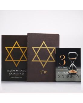 Kit Bíblia Sagrada NVI Estrela de Davi + Harpa + Devocional 3 Minutos com Charles H. Spurgeon | Vivendo Pela Graça