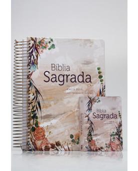 Kit Mãe e Filha | Bíblia Sagrada Anote Plus Flor Marmorizada + Bíblia Para Evangelismo