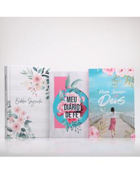 Kit Bíblia ACF Floral + Minha Jornada com Deus + Meu Diário de Fé | Menina dos Olhos