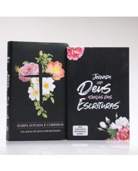 Kit Bíblia RC Harpa Letra Gigante Flores Cruz + Guia Bíblico | Cânticos ao Senhor