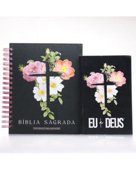 Kit Bíblia NVI Capa Dura Flores Cruz Com Espaço Para Anotações + Eu e Deus Flores Cruz | Palavras de Bênção