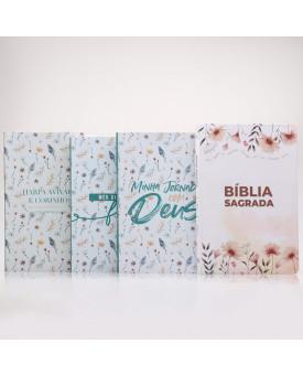 Kit Bíblia RC Slim Garden + Harpa + Meu Diário de Fé + Minha Jornada com Deus | Vivendo Pela Graça