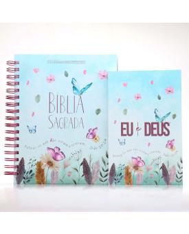 Kit Bíblia NVI Capa Dura Jardim Secreto Com Espaço Para Anotações + Eu e Deus Jardim Secreto | Palavras de Bênção