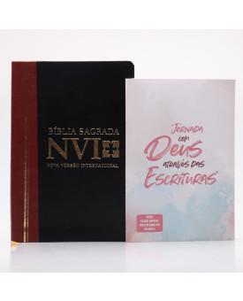 Kit Bíblia NVI Letra Grande Duotone Slim + Jornada Através das Escrituras Deus | Estudo Diário