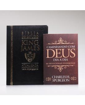 Kit Bíblia de Estudo KJA Letra Hipergigante Preta + Devocional Spurgeon Clássica | Momento Diário