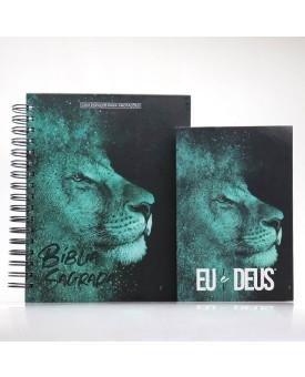 Kit Bíblia NVI Capa Dura Leão Azul Com Espaço Para Anotações + Eu e Deus Leão Azul | Palavras de Bênção
