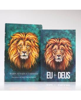 Kit Bíblia RC Harpa Letra Gigante Leão Aslam + Eu e Deus Leão Aslam | Cânticos ao Senhor