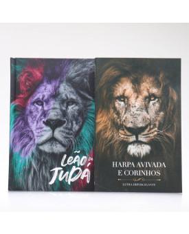 Kit Bíblia ACF Capa Dura Leão de Judá + Harpa Avivada e Corinhos Eu Sou | Louvando ao Senhor