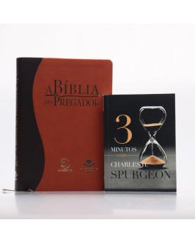 Kit A Bíblia do Pregador RC Marrom + Grátis Devocional 3 Minutos com Charles H. Spurgeon   Pregadores de Fé