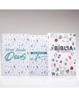 Kit Meu Diário de Fé + Livro de Oração + Bíblia  Flores do Campo